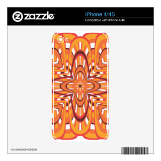 Orange Floral Retro Abstract Art Decal For iPhone 4S