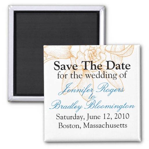 Orange Floral Save The Date Wedding Magnets Favors