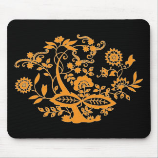 Orange Floral Tree Mouse Pad