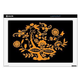 Orange Floral Tree Laptop Skin