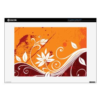 """Orange Floral Vine Pattern 15"""" Laptop Decals"""