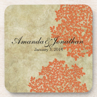 Orange Floral Vintage Beverage Coaster