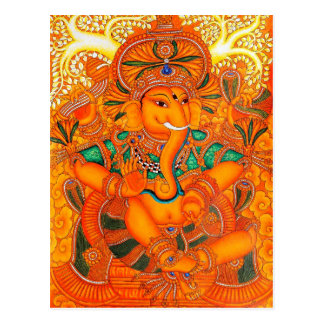 Orange Floral Vintage Lord Ganesha Postcard