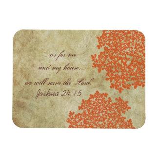 Orange Floral Vintage Rectangular Photo Magnet