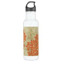Orange Floral Vintage Water Bottle
