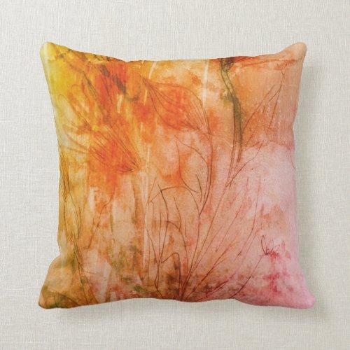 Orange Floral Water Colour Pillow