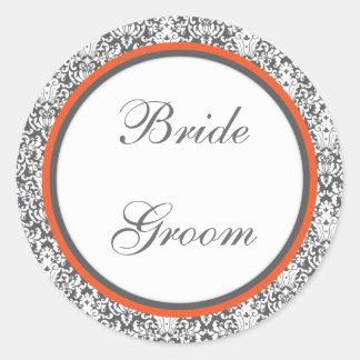 Orange floral  Wedding Sticker