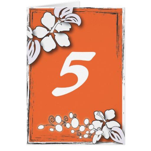 Orange Floral Wedding Table number Card