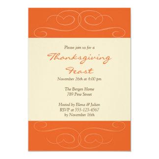 Orange florish fall custom Thanksgiving invitation