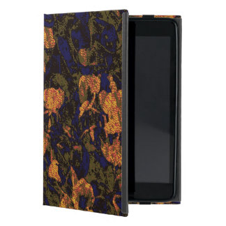 Orange flower against leaf camouflage pattern cover for iPad mini