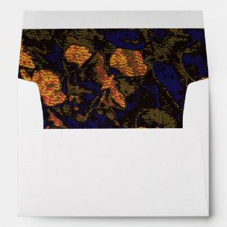 Orange flower against leaf camouflage pattern envelope