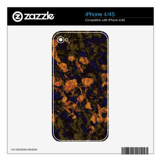 Orange flower against leaf camouflage pattern decal for the iPhone 4