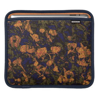 Orange flower against leaf camouflage pattern sleeve for iPads