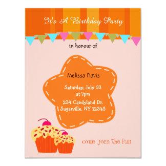 Orange Flower and Cupcake Birthday Invitation