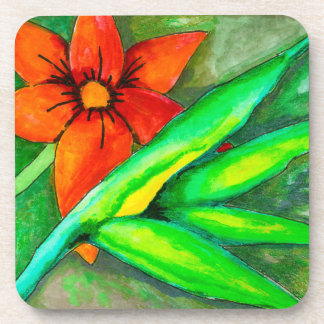 Orange flower and green leaf coaster