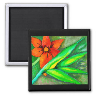 Orange flower and green leaf Magnet