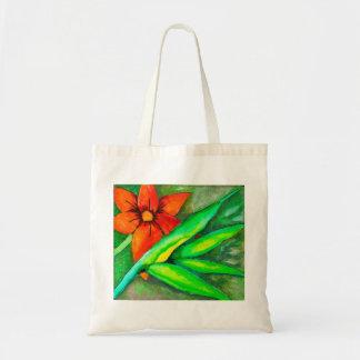 Orange Flower and green leaf Tote Bag