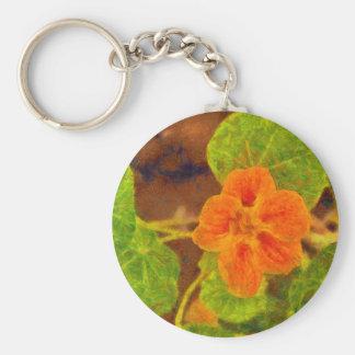 Orange flower and green leaves basic round button keychain