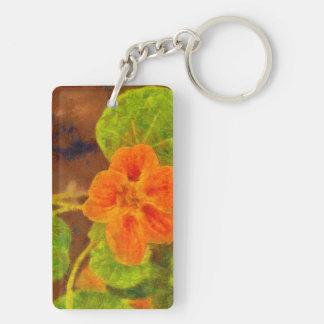 Orange flower and green leaves Double-Sided rectangular acrylic keychain