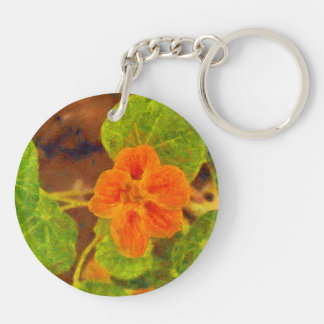 Orange flower and green leaves Double-Sided round acrylic keychain