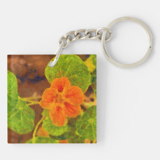 Orange flower and green leaves Double-Sided square acrylic keychain