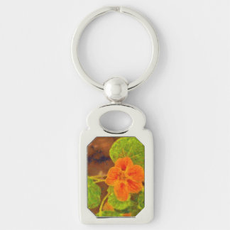 Orange flower and green leaves Silver-Colored rectangular metal keychain