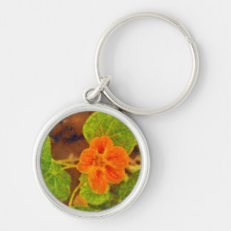 Orange flower and green leaves Silver-Colored round keychain