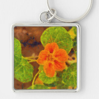 Orange flower and green leaves Silver-Colored square keychain