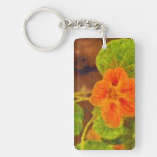 Orange flower and green leaves Single-Sided rectangular acrylic keychain