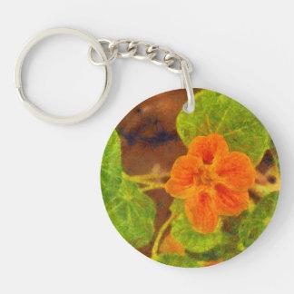 Orange flower and green leaves Single-Sided round acrylic keychain