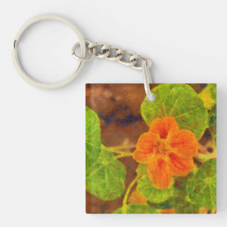 Orange flower and green leaves Single-Sided square acrylic keychain