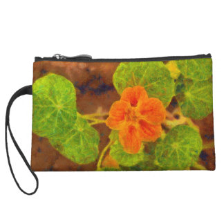 Orange flower and green leaves wristlet clutches