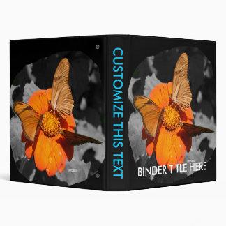 Orange flower and orange butterflies photograph vinyl binder
