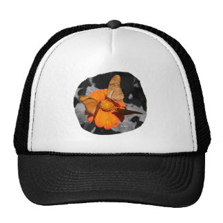 Orange flower and orange butterflies photograph trucker hat