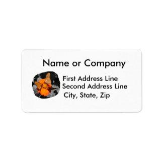 Orange flower and orange butterflies photograph address label