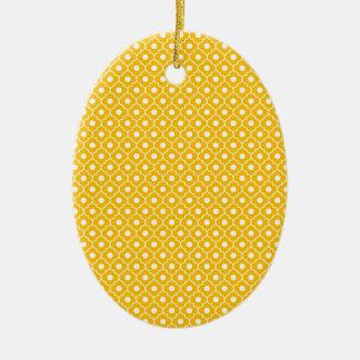 Orange Flower Argyle Pattern Oval Ornament