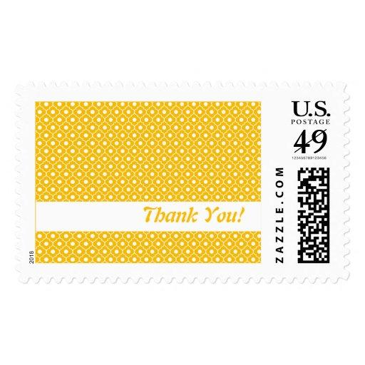 Orange Flower Argyle Pattern US Postal Stamp