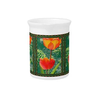 Orange Flower Beverage Pitcher