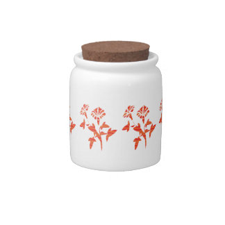 Orange Flower Decorative Candy Jar