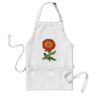 Orange flower design adult apron