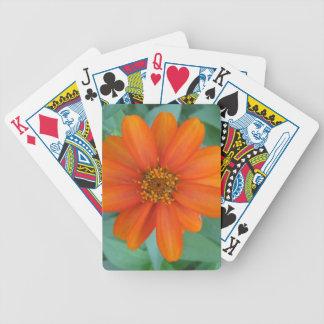 Orange flower design bicycle playing cards
