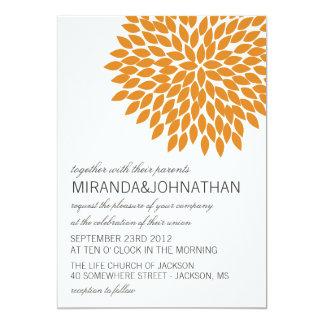 "Orange Flower Design Wedding Invitations 5"" X 7"" Invitation Card"