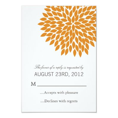 Orange Flower Design Wedding RSVP Cards Invites