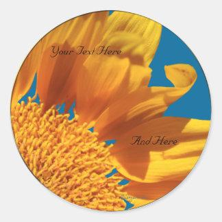 Orange Flower Fall Gerbera Custom Envelope Seals Classic Round Sticker