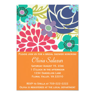 Orange Flower Garden Bridal Shower Invitations