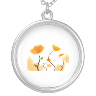 Orange flower graphic eco design.png silver plated necklace