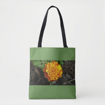 Beach Themed Orange Flower green background carry bag