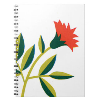 Orange Flower Green Leaves Notebook