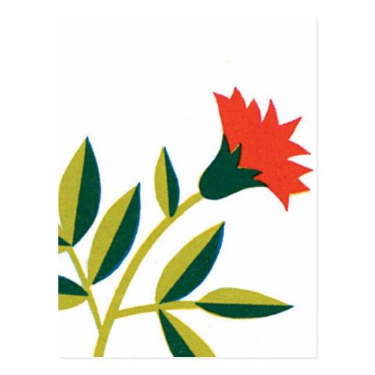 Orange Flower Green Leaves Postcard