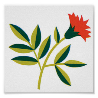 Orange Flower Green Leaves Poster